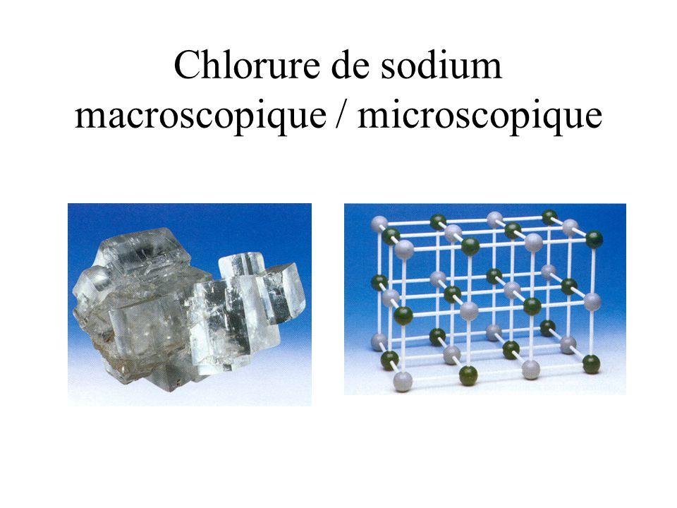 Chlorure de sodium macroscopique / microscopique