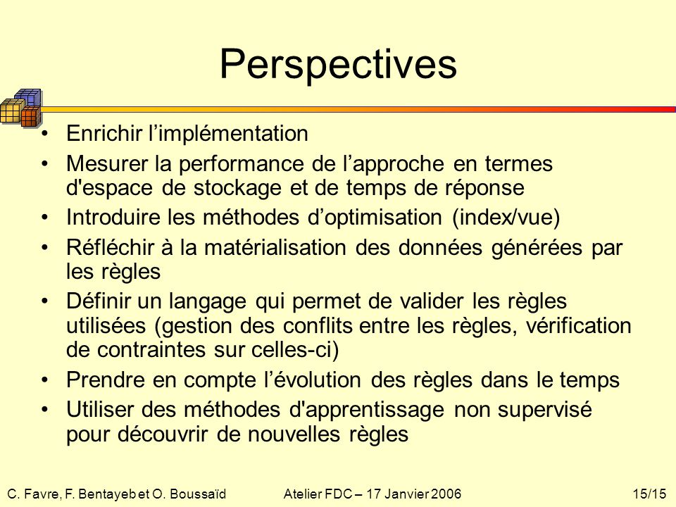 Perspectives Enrichir l'implémentation