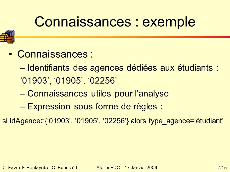 Connaissances : exemple