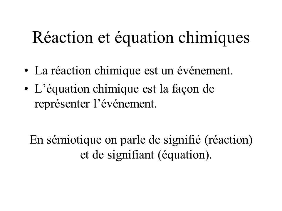 Réaction et équation chimiques
