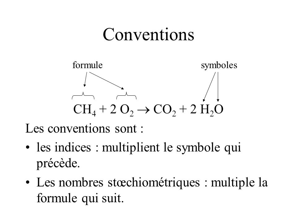 Conventions CH4 + 2 O2  CO2 + 2 H2O Les conventions sont :