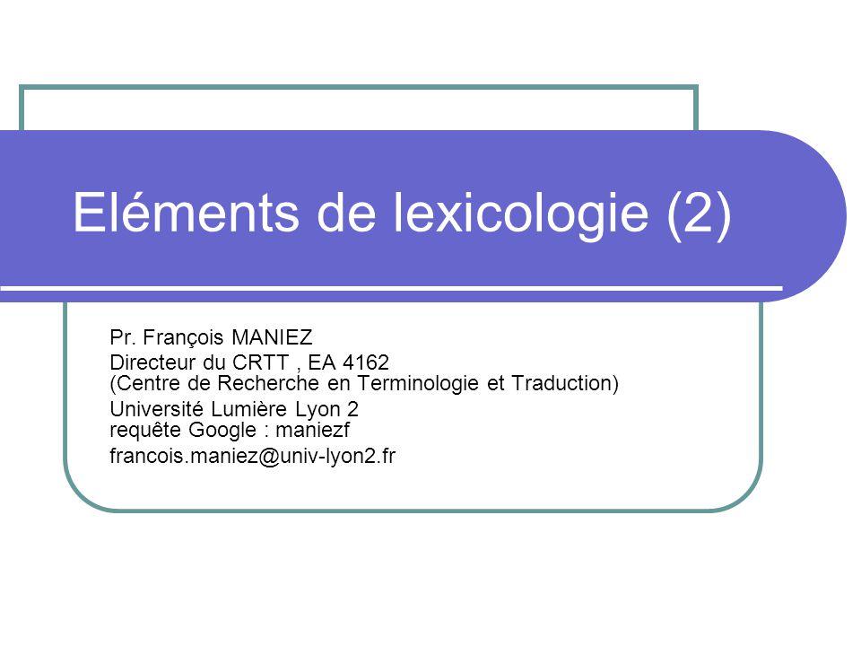Eléments de lexicologie (2)