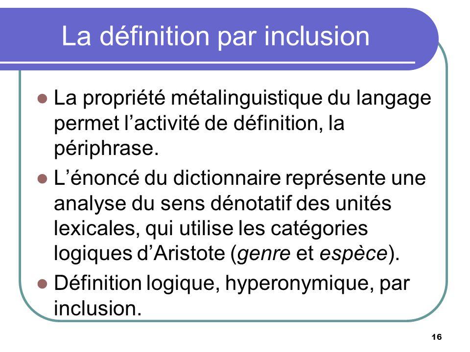 La définition par inclusion