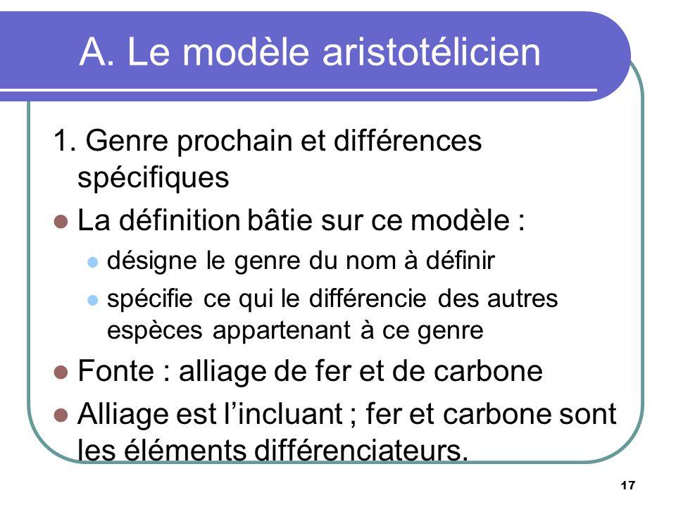 A. Le modèle aristotélicien