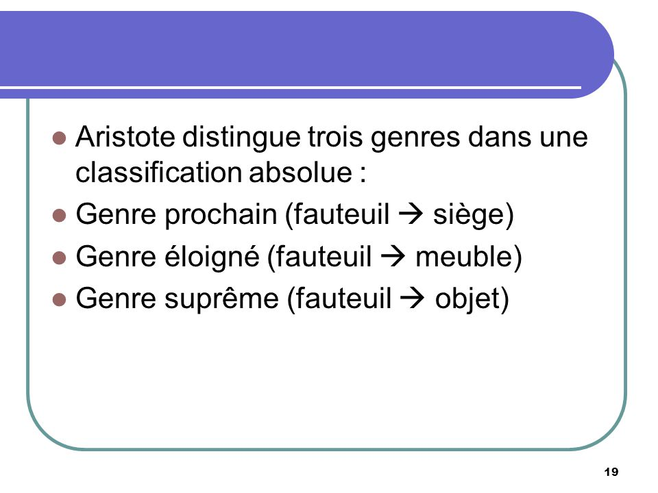 Aristote distingue trois genres dans une classification absolue :