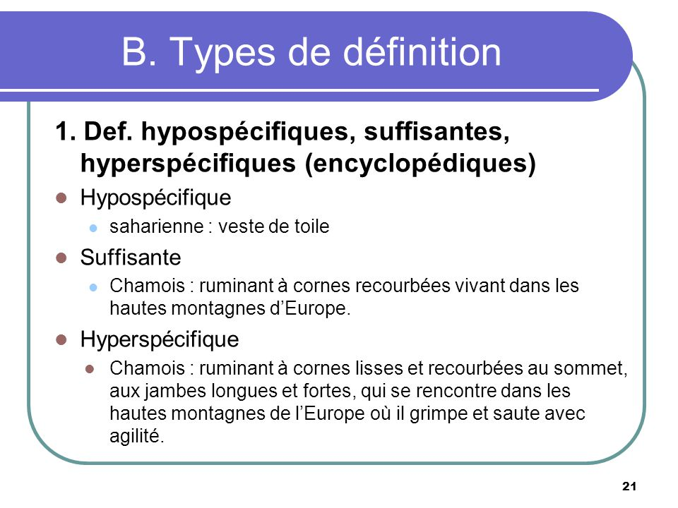 B. Types de définition 1. Def. hypospécifiques, suffisantes, hyperspécifiques (encyclopédiques) Hypospécifique.
