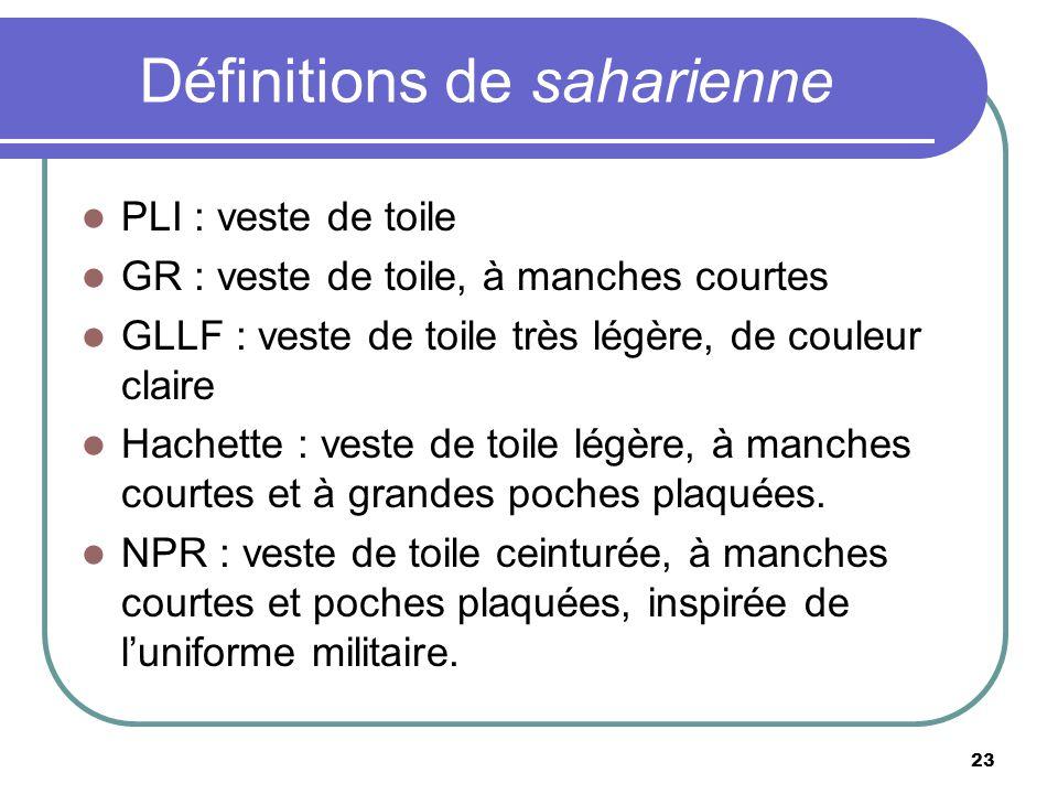 Définitions de saharienne