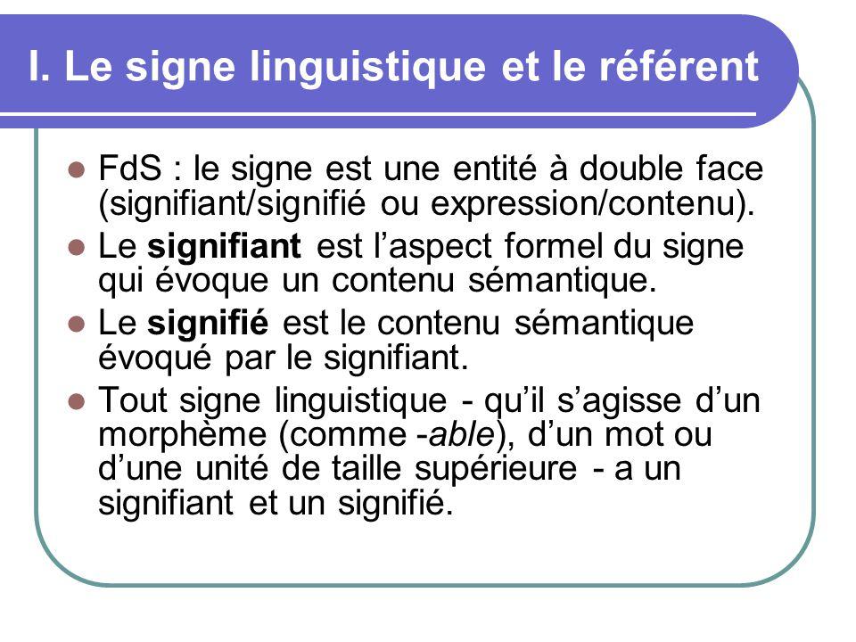 I. Le signe linguistique et le référent