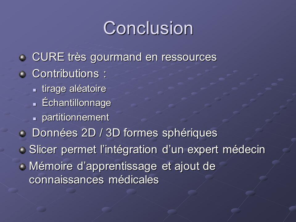 Conclusion CURE très gourmand en ressources Contributions :