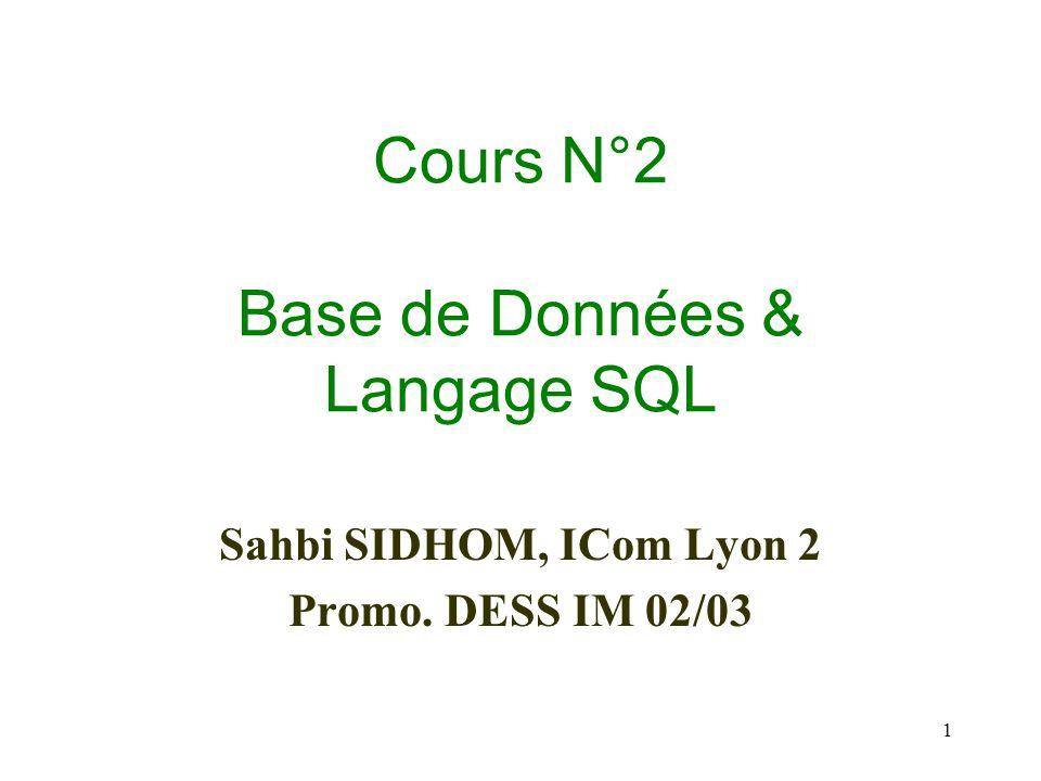 Cours N°2 Base de Données & Langage SQL