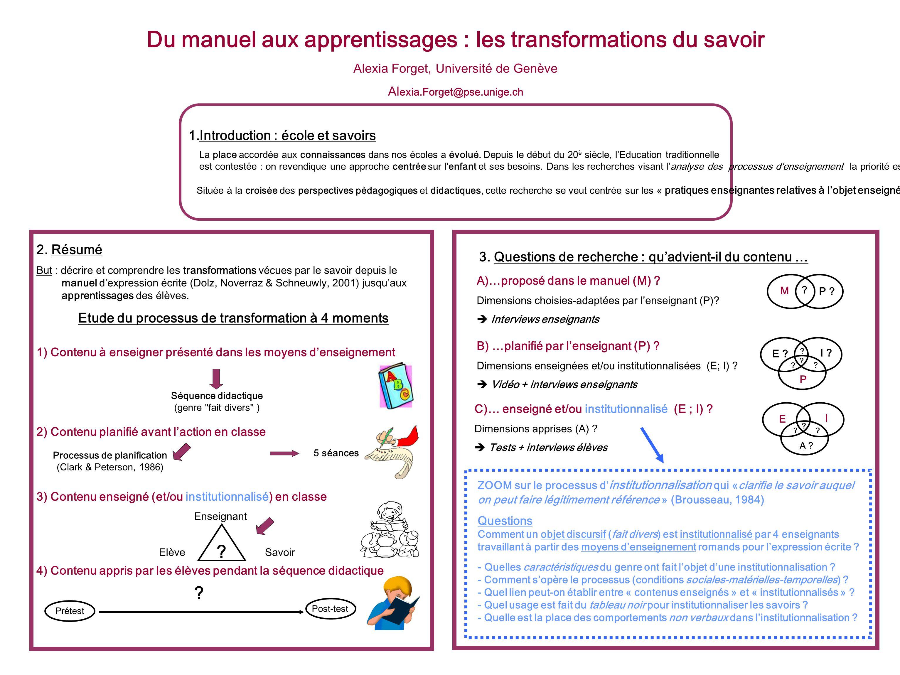 Du manuel aux apprentissages : les transformations du savoir