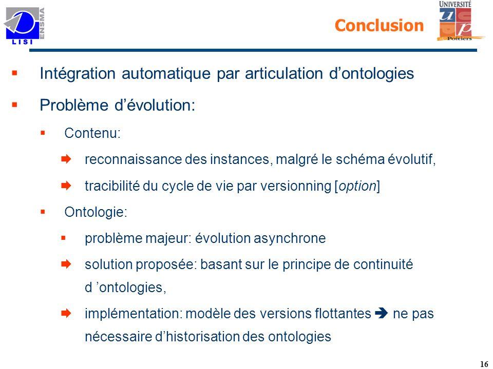 Intégration automatique par articulation d'ontologies