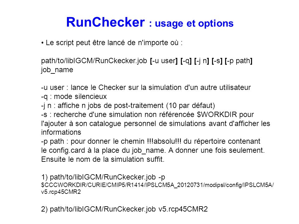 RunChecker : usage et options