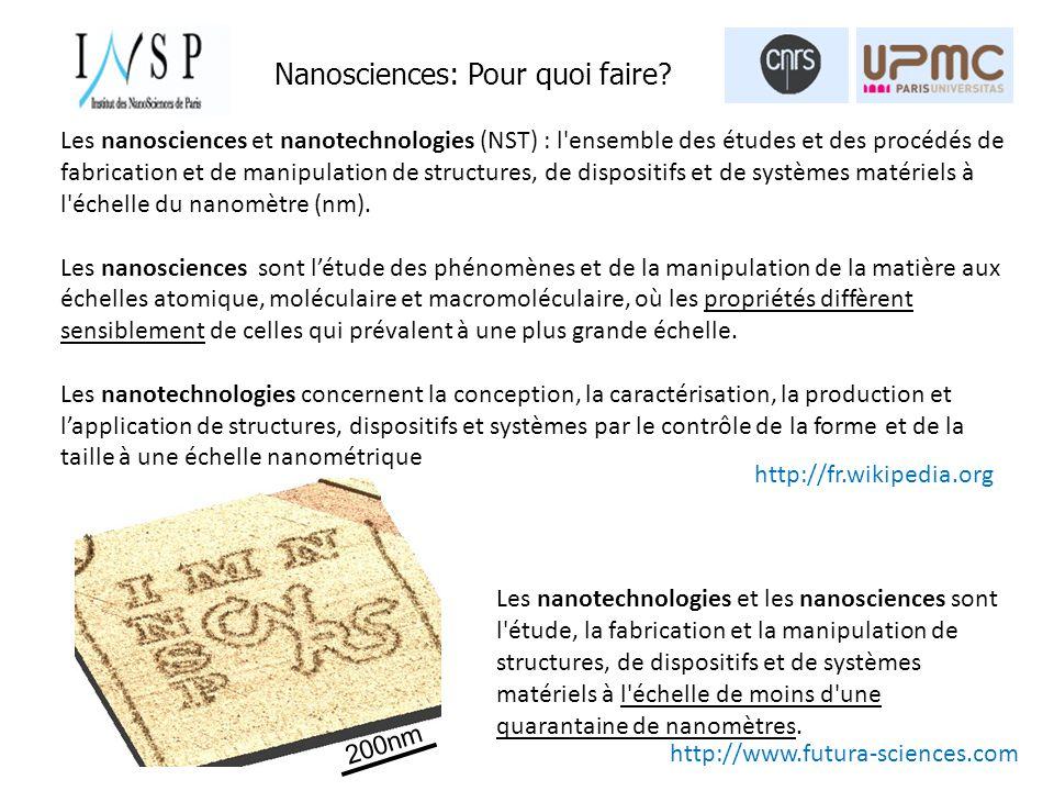 Nanosciences: Pour quoi faire