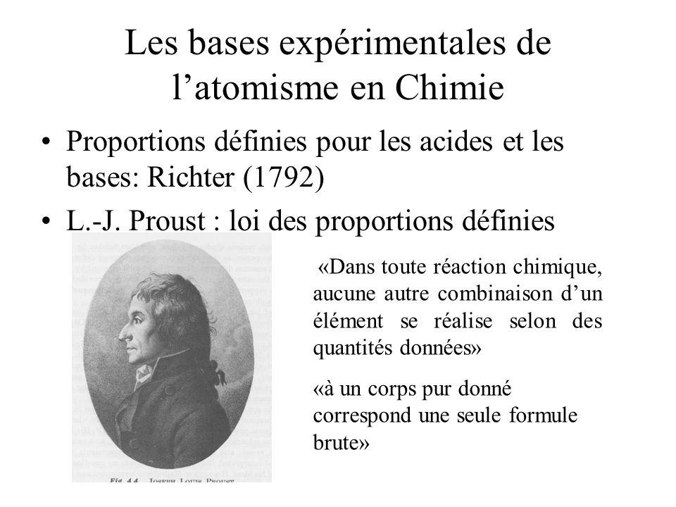 Les bases expérimentales de l'atomisme en Chimie