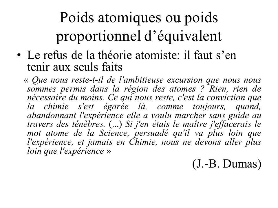 Poids atomiques ou poids proportionnel d'équivalent