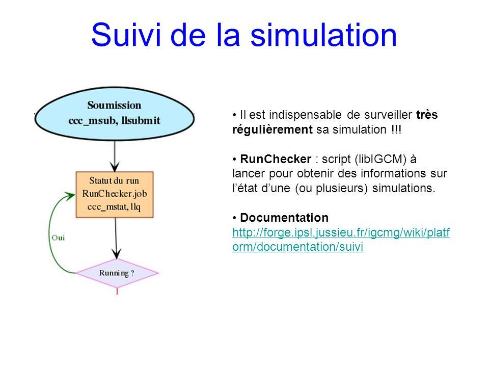 Suivi de la simulation Il est indispensable de surveiller très régulièrement sa simulation !!!