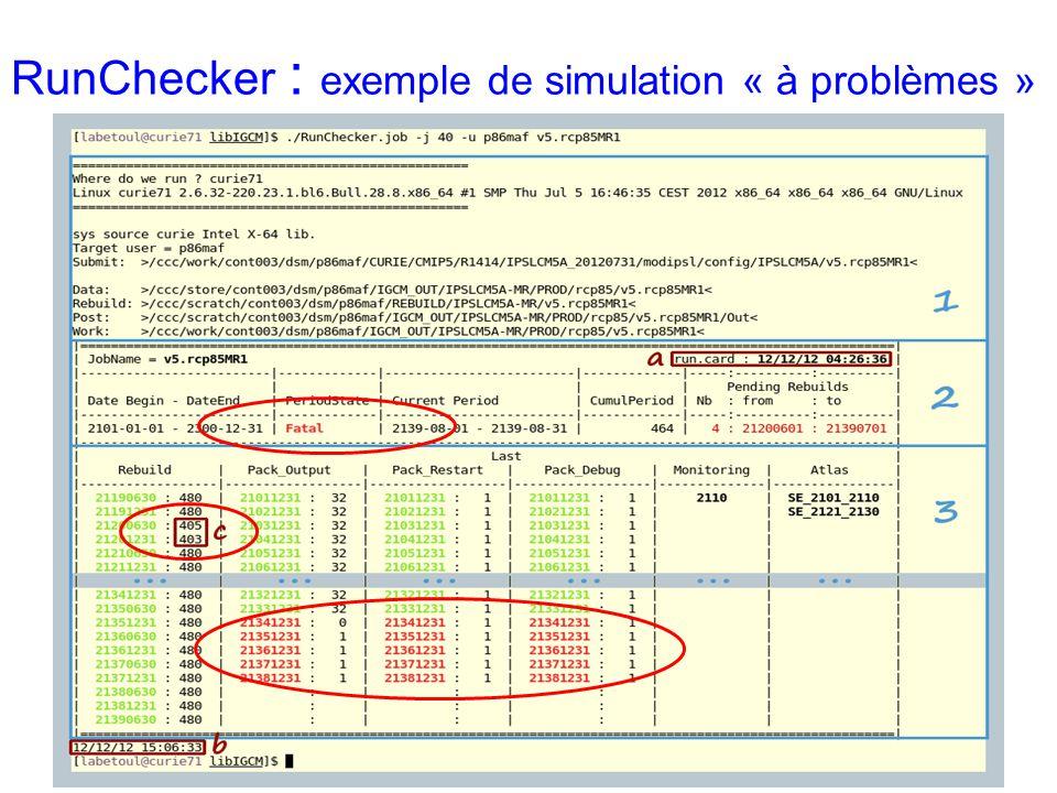 RunChecker : exemple de simulation « à problèmes »