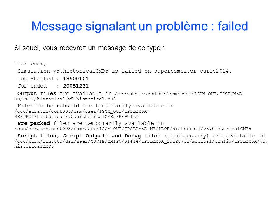 Message signalant un problème : failed