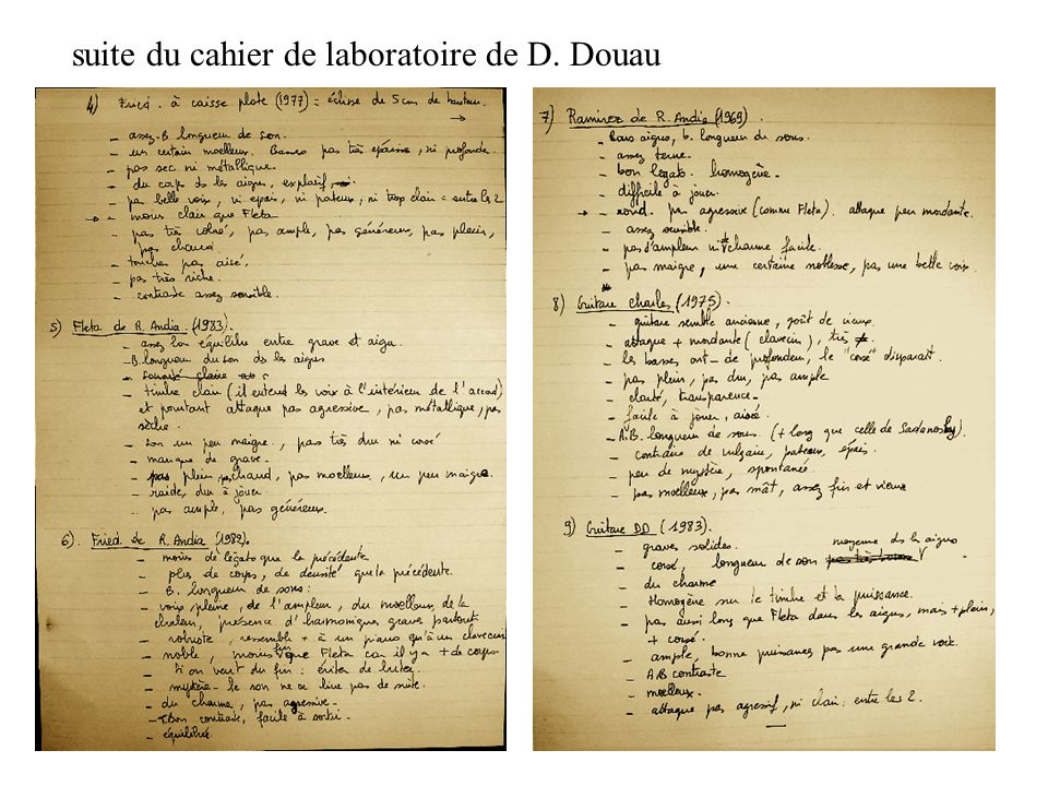 suite du cahier de laboratoire de D. Douau