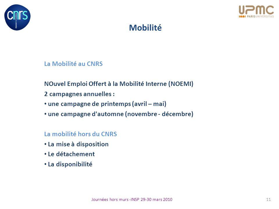 Mobilité La Mobilité au CNRS