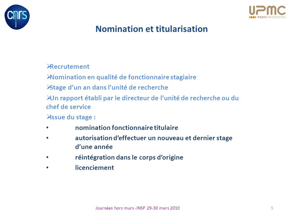 Nomination et titularisation