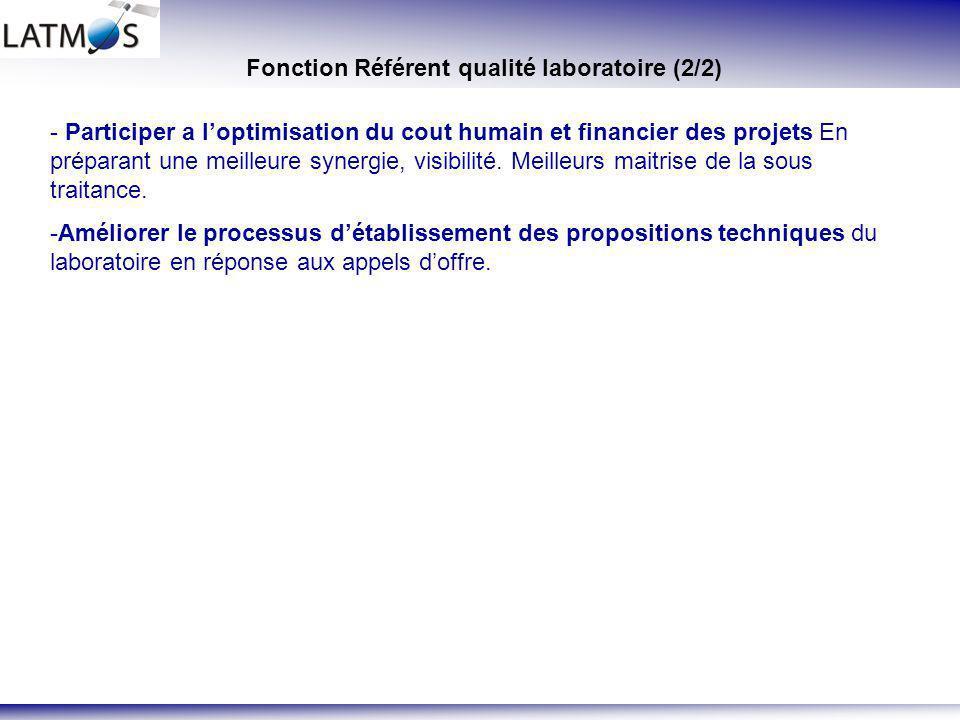 Fonction Référent qualité laboratoire (2/2)