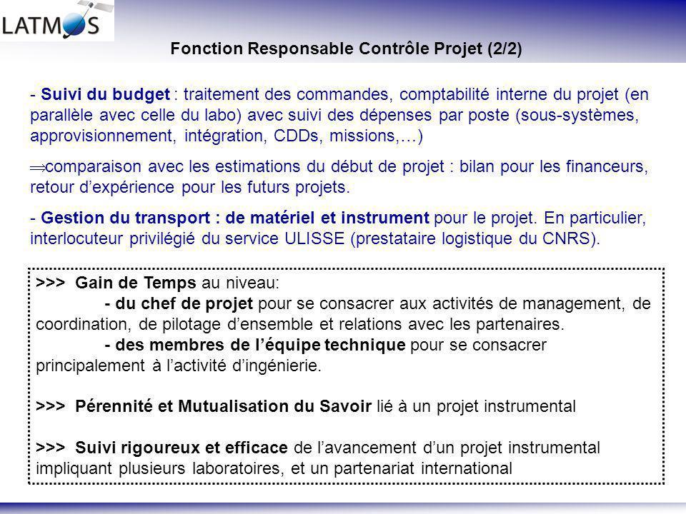 Fonction Responsable Contrôle Projet (2/2)