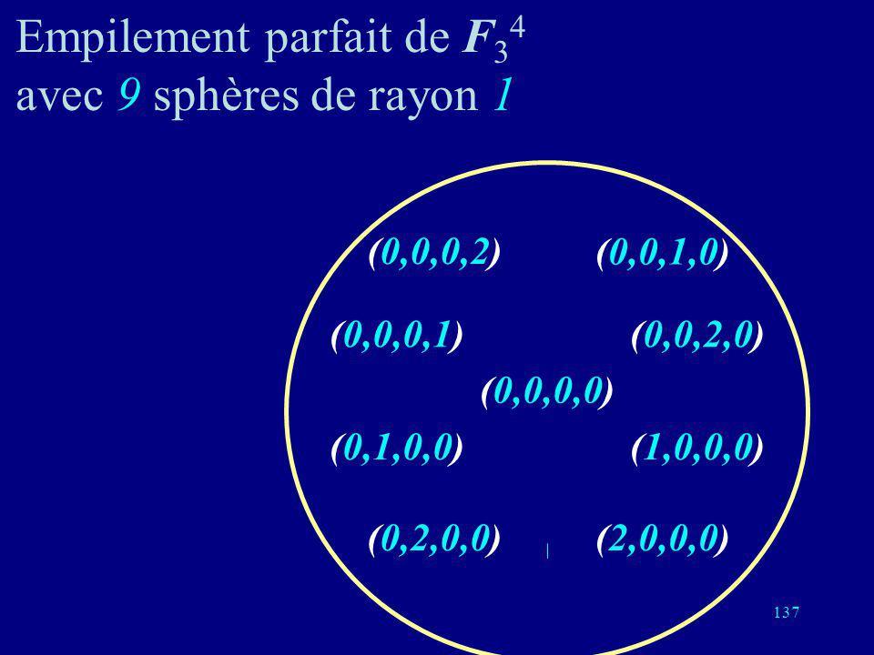 Empilement parfait de F34 avec 9 sphères de rayon 1