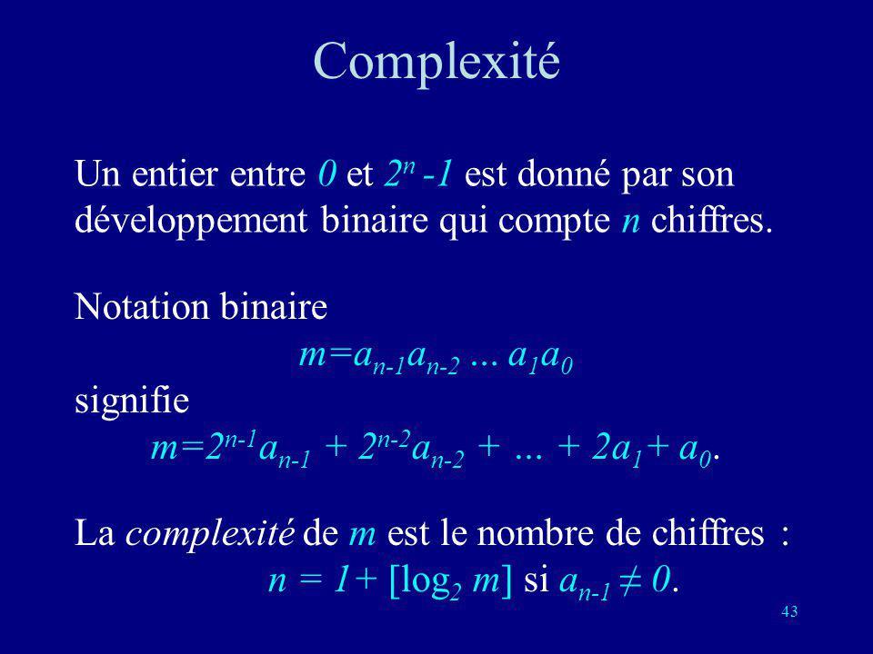 Complexité Un entier entre 0 et 2n -1 est donné par son développement binaire qui compte n chiffres.