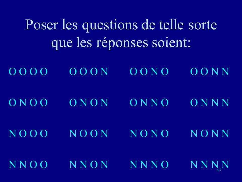 Poser les questions de telle sorte que les réponses soient: