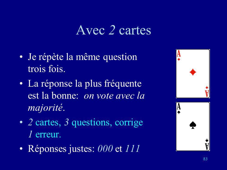 Avec 2 cartes Je répète la même question trois fois.