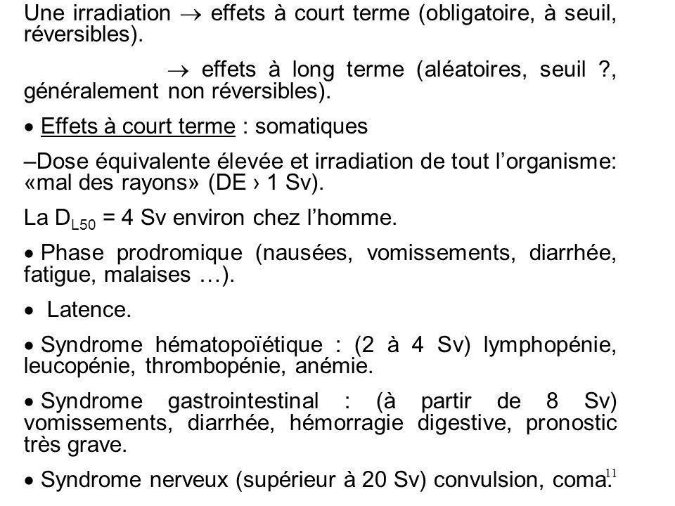 Une irradiation  effets à court terme (obligatoire, à seuil, réversibles).