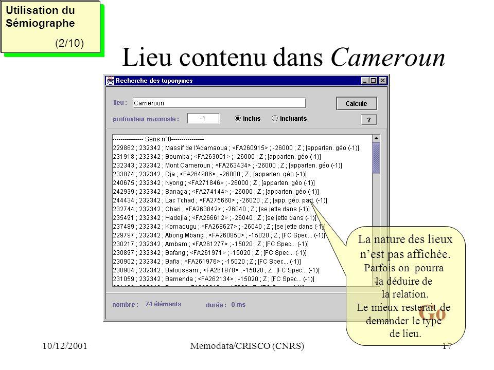 Lieu contenu dans Cameroun