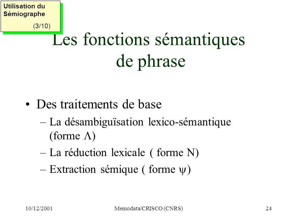 Les fonctions sémantiques de phrase