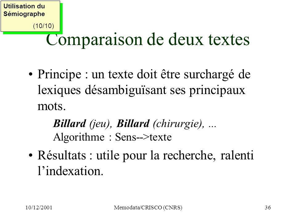 Comparaison de deux textes