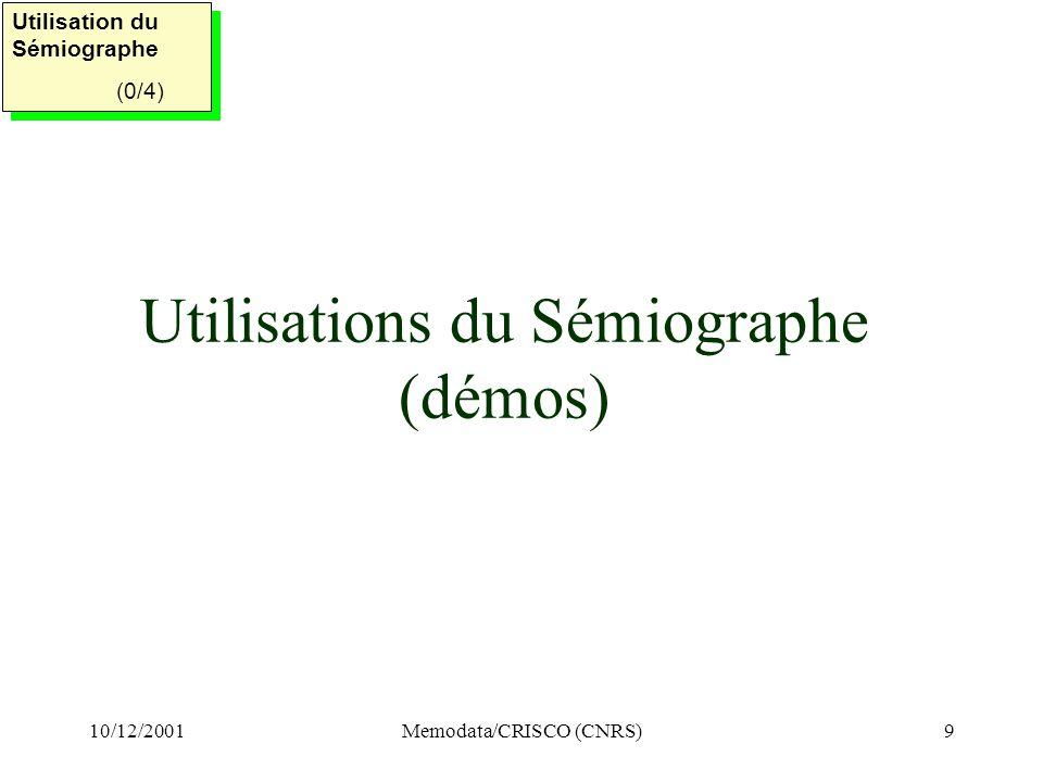 Utilisations du Sémiographe (démos)