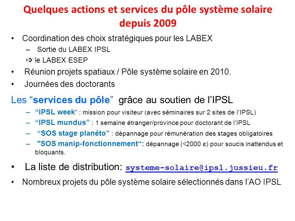 Quelques actions et services du pôle système solaire depuis 2009
