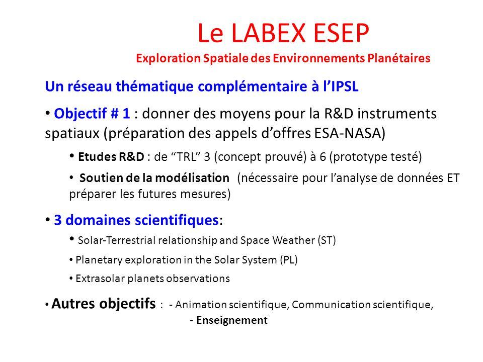 Le LABEX ESEP Exploration Spatiale des Environnements Planétaires