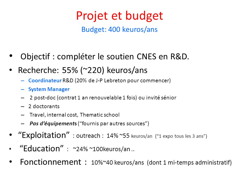 Projet et budget Budget: 400 keuros/ans