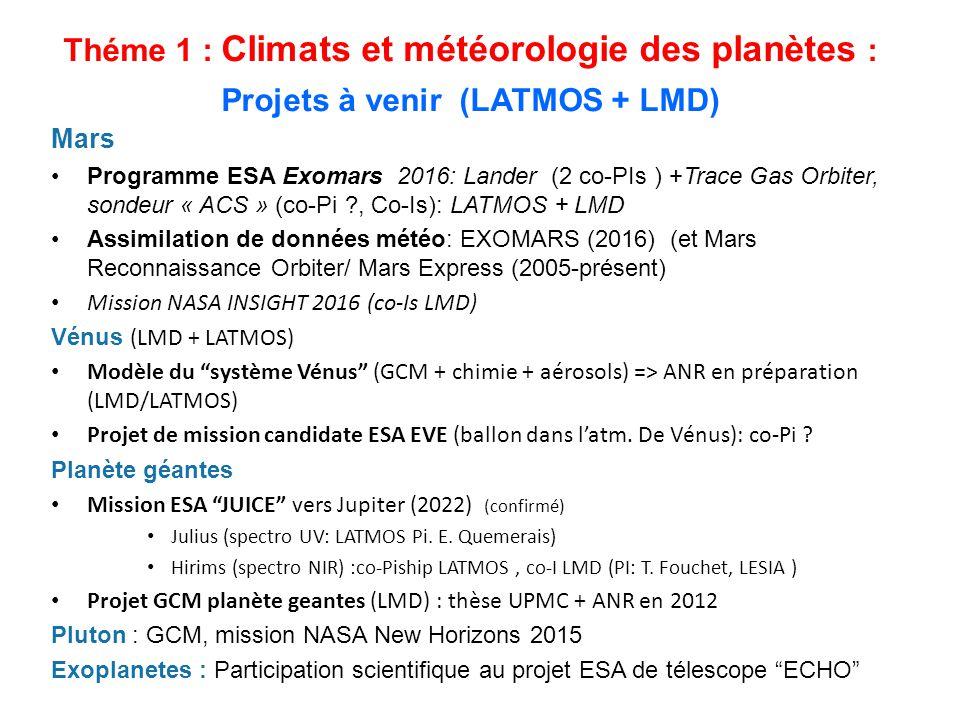 Théme 1 : Climats et météorologie des planètes : Projets à venir (LATMOS + LMD)