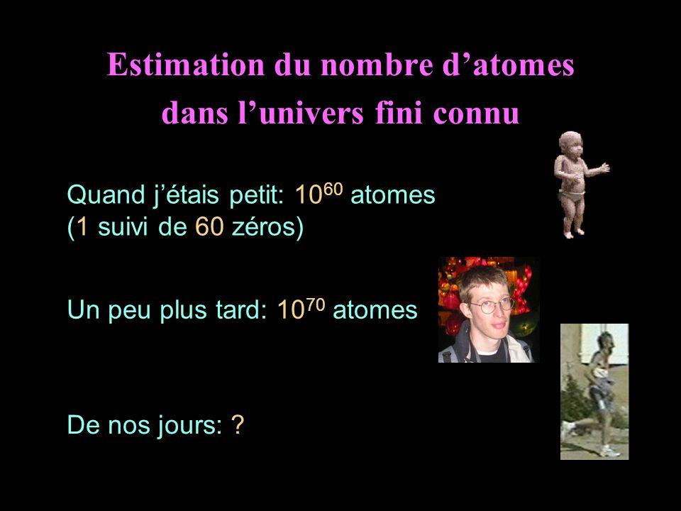 Estimation du nombre d'atomes dans l'univers fini connu