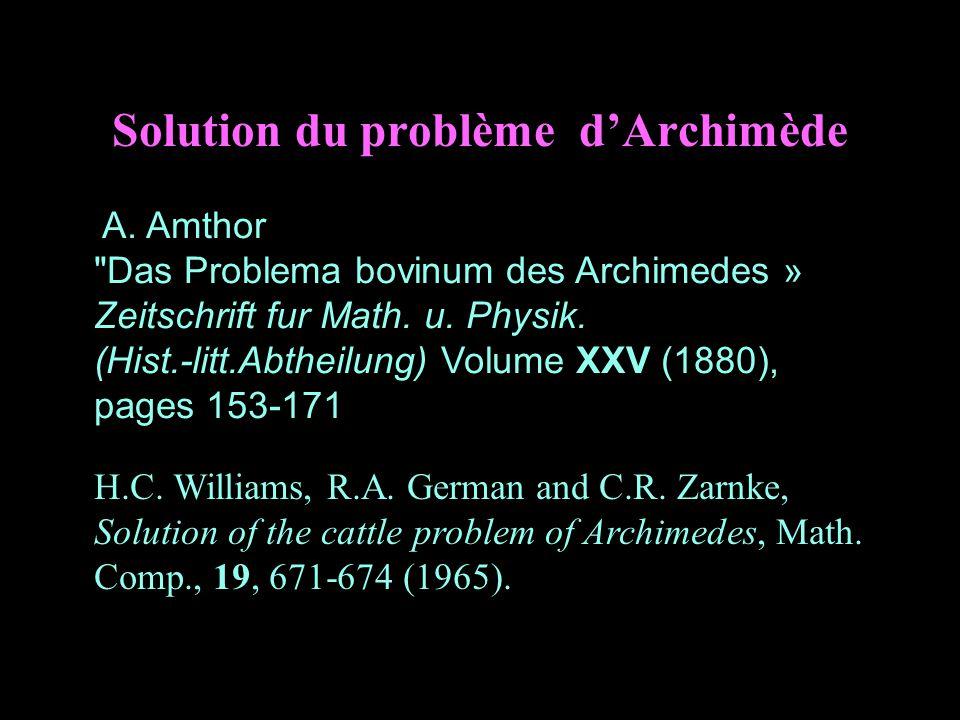 Solution du problème d'Archimède