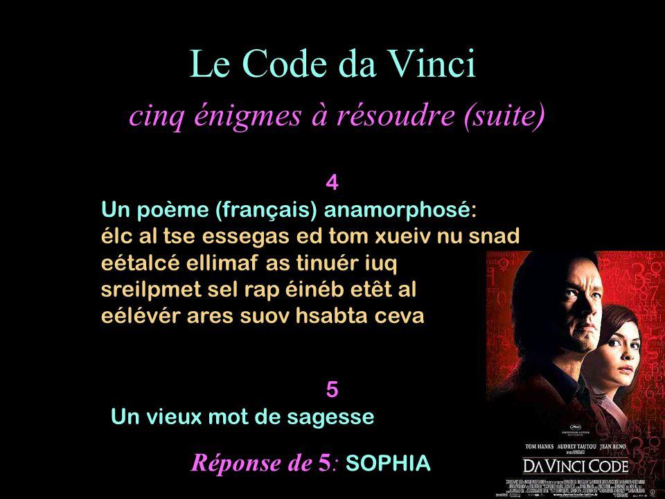 Le Code da Vinci cinq énigmes à résoudre (suite)