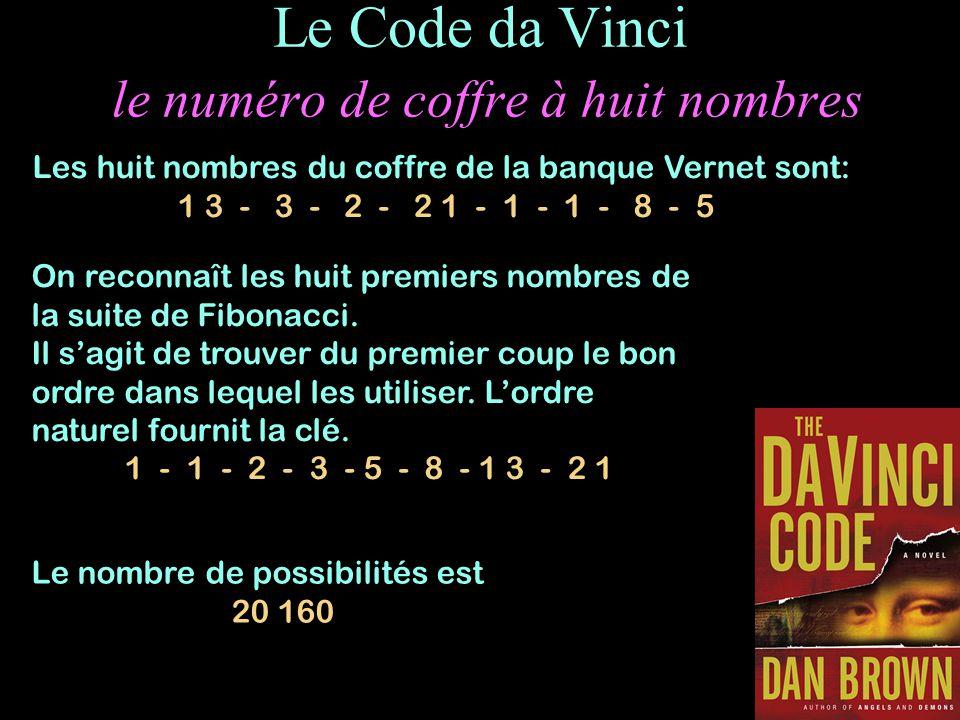 Le Code da Vinci le numéro de coffre à huit nombres