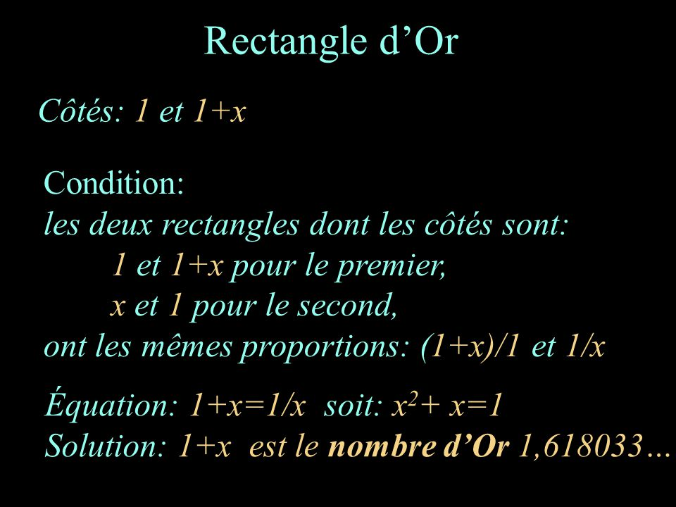 Rectangle d'Or Côtés: 1 et 1+x Condition: