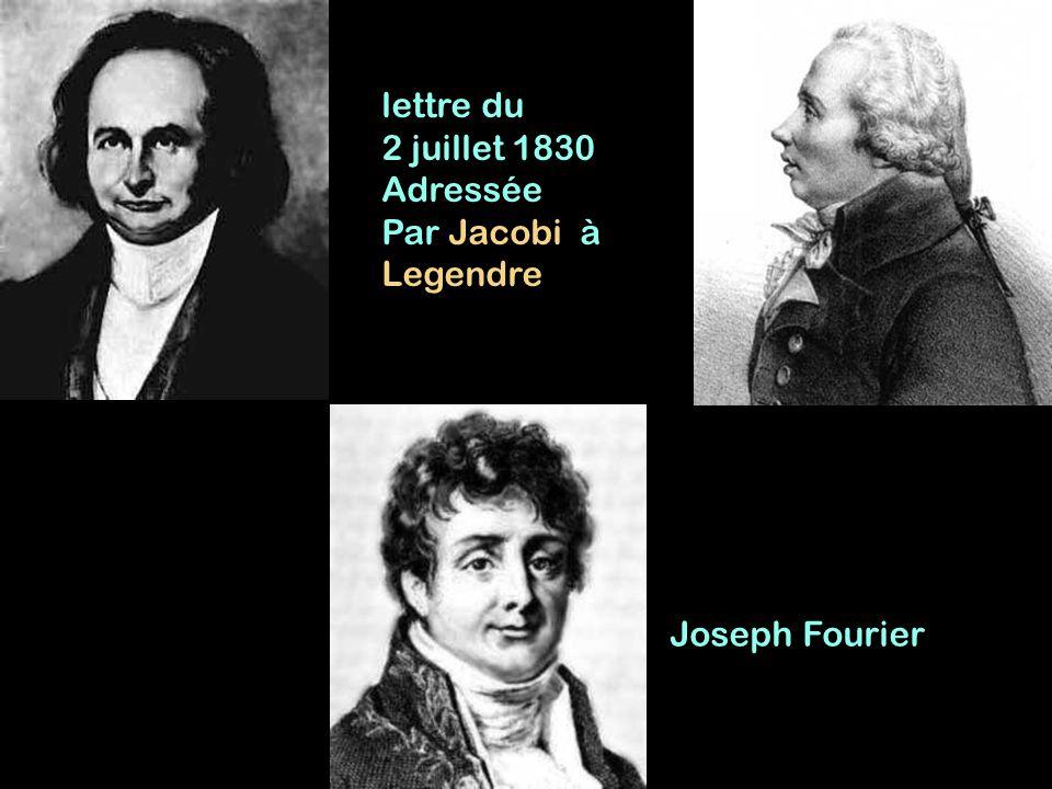 lettre du 2 juillet 1830 Adressée Par Jacobi à Legendre Joseph Fourier