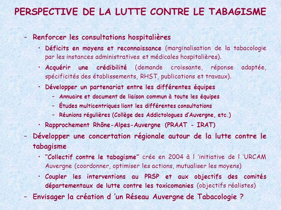PERSPECTIVE DE LA LUTTE CONTRE LE TABAGISME