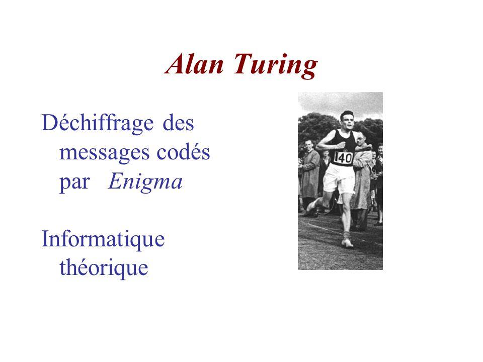 Alan Turing Déchiffrage des messages codés par Enigma