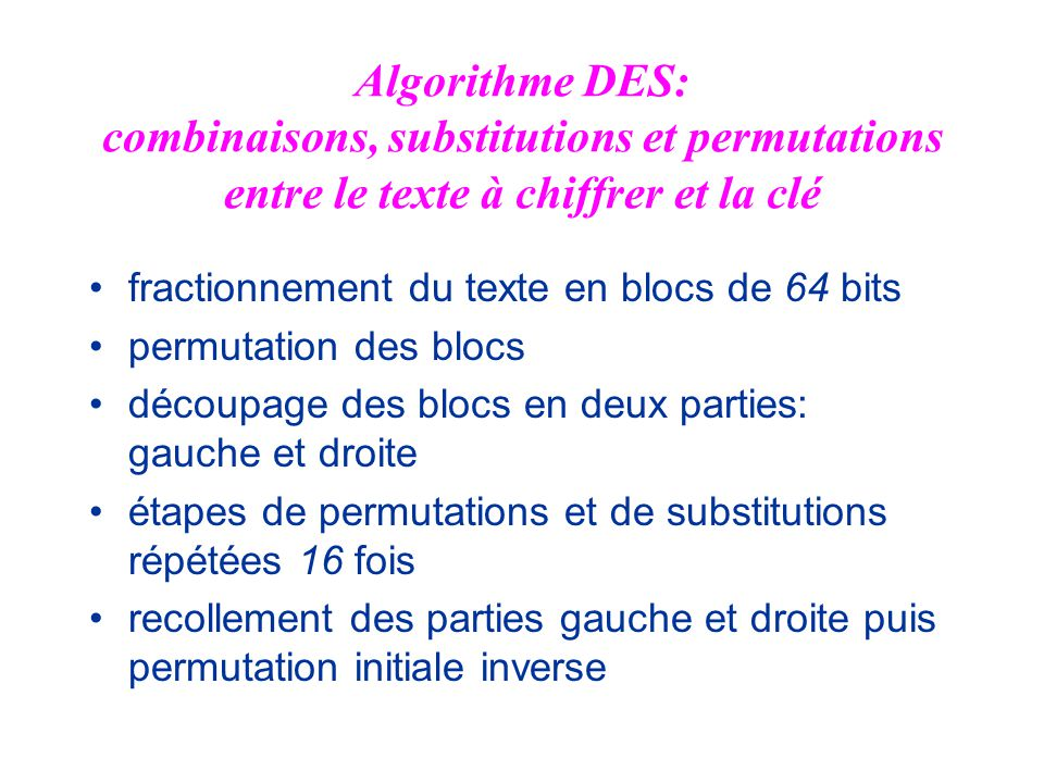 Algorithme DES: combinaisons, substitutions et permutations entre le texte à chiffrer et la clé